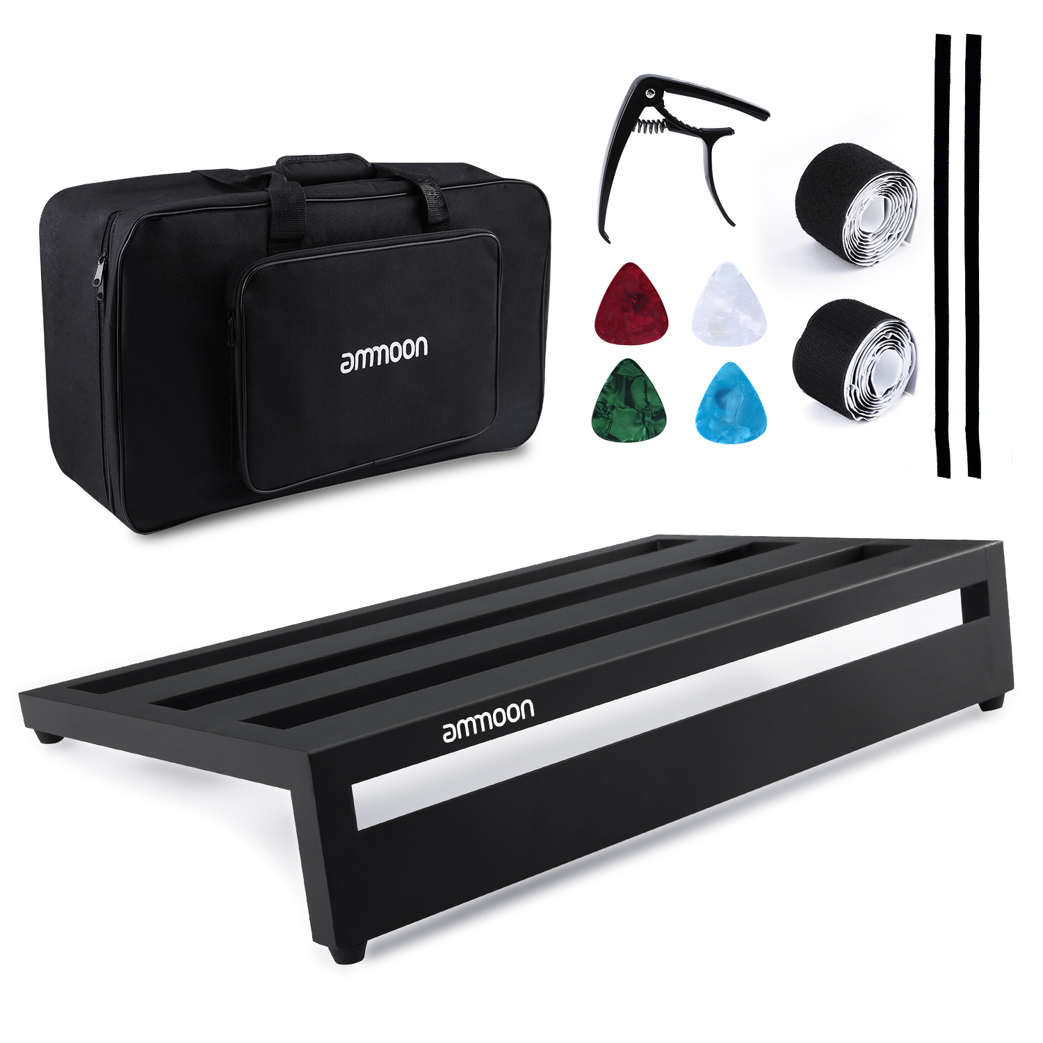 ammoon Large Guitar Effect Pedal Board Pedalboard Aluminum Alloy with Carry Bag Capo 4pcs Picks Fixing Tapes Guitar Accessories