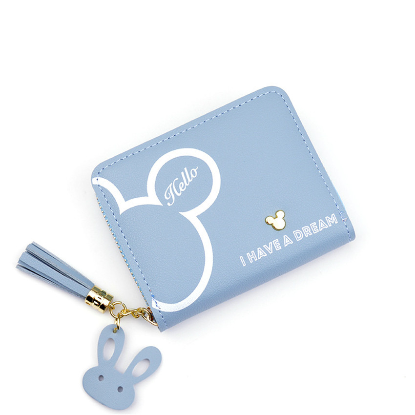 Rabbit Tassel Leather Coin Purse Women Wallet Short Small Cute Card Holder Money Bags For Woman Lady Purses Kids Children Pouch