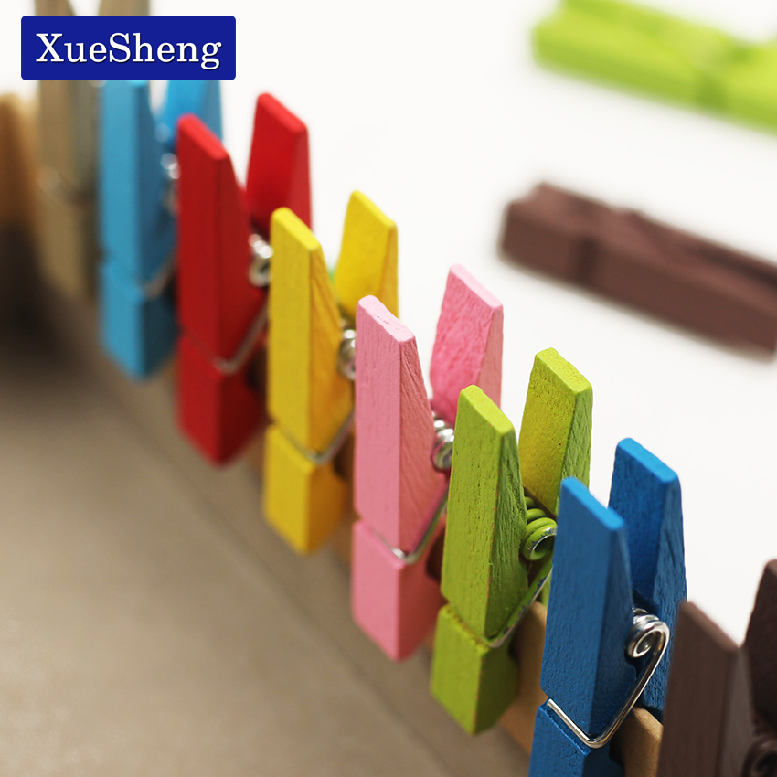 Mini Wooden Decorative Color Clip Wood Clothespin Clips Note Pegs Mixed For Photo Paper Clothes Office Supplies 20 PCS