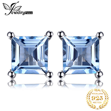 2015 New Fashion 0.76ct Natural Sky Blue Topaz Women Classic Princess Cut Earrings Stud Solid 925 Sterling Silver Jewelry