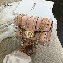 Chain Female Shoulder Crossbody Bag Woman Rivet Mini Fashion Square PU Transparent Handbag Messenger Beach Lady Bags 2019 New