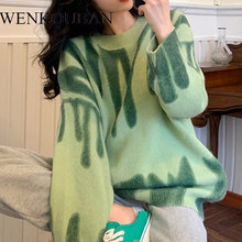 Striped Knitted Sweaters Women Autumn Winter Long Jumpers Oversized Pullovers Streetwear Loose Outerwear Sueter Mujer 2021