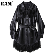 [EAM] Women Black PU Leather Tassel Big Size Belt Dress New Lapel Long Sleeve Loose Fashion Tide Spring Autumn 2021 1DD1665