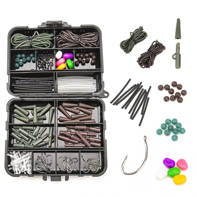 117pcs Fishing Accessories Kit With Tackles Box Including Fishing Sinker Weights Fishing Swivels Snaps Hose Fishing Hook Mesh|Fishing Tackle Boxes| |  - title=