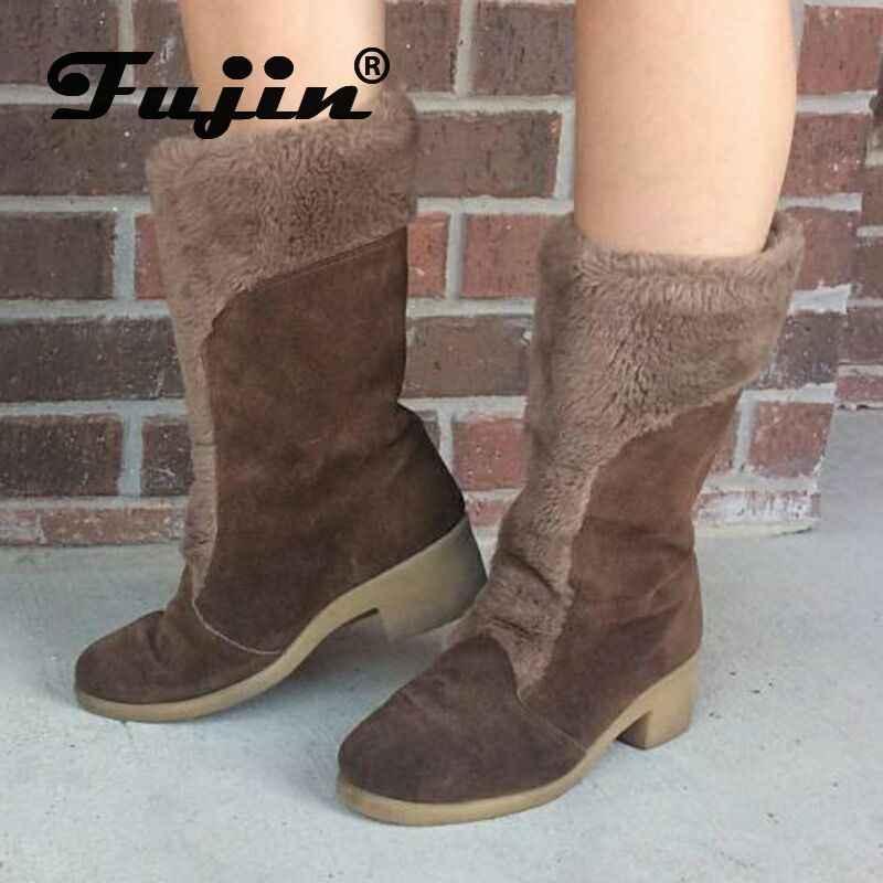 Fujin kadın botları kış peluş sıcak tutmak Dropshipping moda sivri tırnak topuklu moda süet kayma eğlence orta buzağı çizmeler