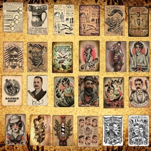 [Luckyaboy] Barber Shop Shaves Cuts Classics Vintage Tin Sign College Dorm Metal Plate Poster Cafe Bar Wall Home Decor  AL005
