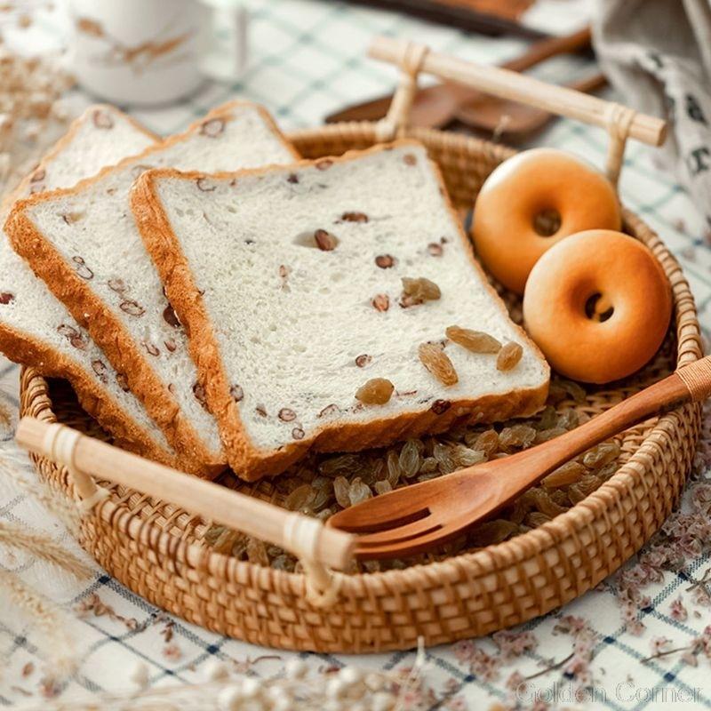 Круглая плетеная корзина для хранения фруктов, поднос ручной работы из ротанга с деревянной ручкой, Классический поднос для хлеба Au10 20, Прямая поставка-1