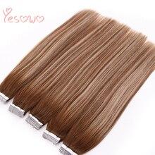 Yesowo, искусственная кожа, уток, малазийские натуральные волосы, дешево, 2,5 г/шт., 20 шт., Remy, девственные волосы на ленте для наращивания, человеческие волосы для салона волос