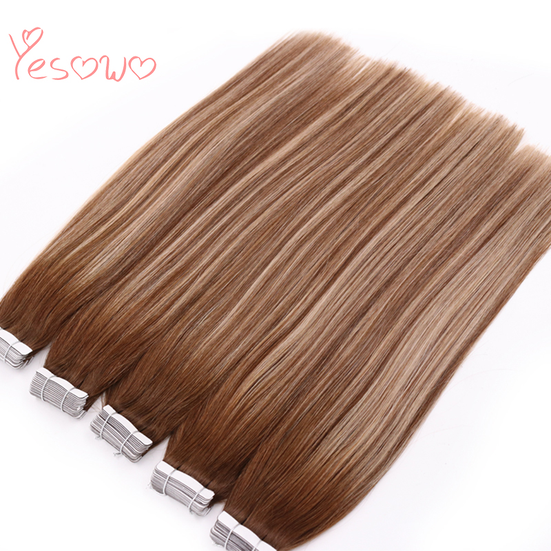 Yesowo PU Skin Weft Malaysian Real Hair Cheap 2.5g/piece 20PCS Remy Virgin Tape In Hair Extensions Human Hair For Hair Salon