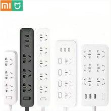 מקורי Xiaomi Mijia חכם כוח רצועת 3 2A מהיר טעינת USB יציאות + 3 שקעי Xiaomi Xiaom MI חכם בית שחור עם מתאם