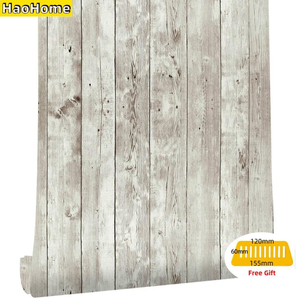 HaoHome regenerado madera desgastada Panel de madera pelar y pegar papel tapiz autoadhesivo extraíble revestimiento de paredes decorativo Vintage