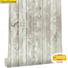 HaoHome Reclaimed Wood Distressed Wood Panel Peel and Stick Wallpaper Self-Adhesive Removable Wall Covering Decorative Vintage