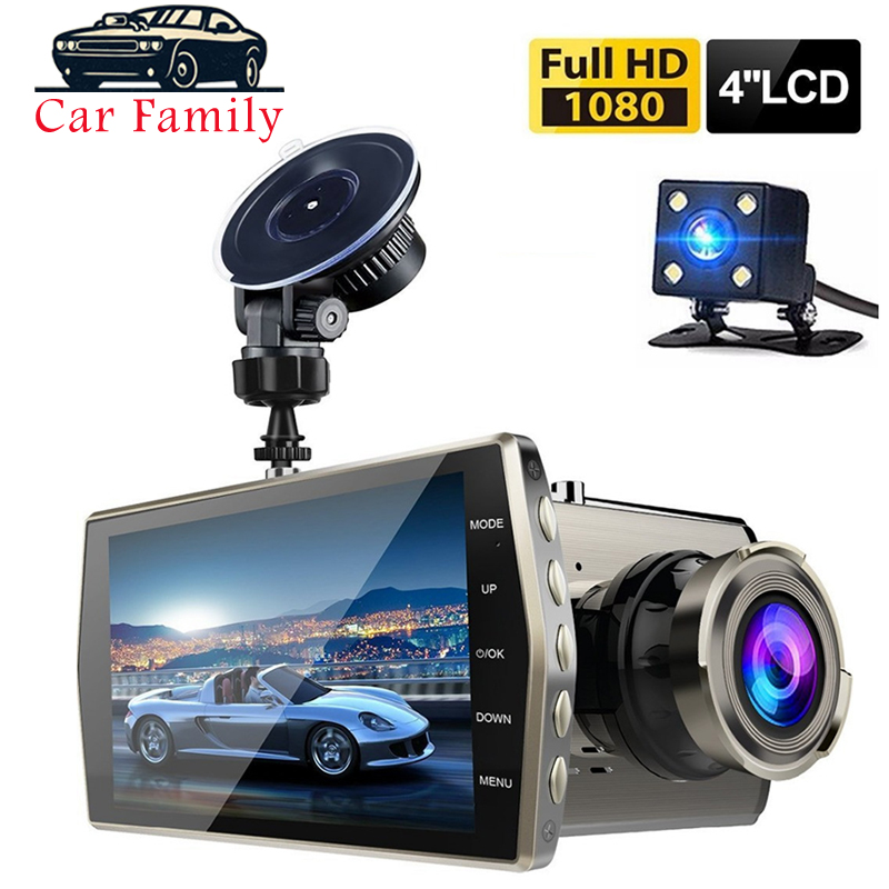 1080P FHD 4.0 inch IPS Screen Car Dash Dual Lens Cam Camera Video Front and Rear