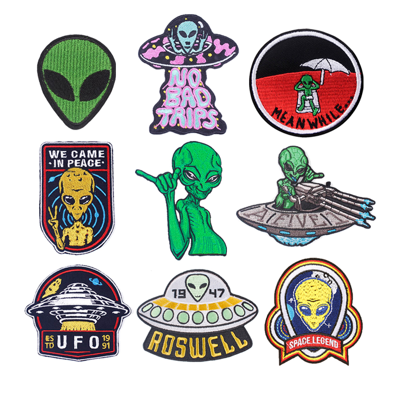UFO/Alien Patches Embroidered Patches For Clothing DIY Stripes Iron On Clothes Art Stickers Sewing On Clothing Apparel Accessory