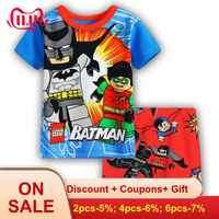 2019 conjuntos de roupas meninos crianças agasalho verão conjunto conjunto de pijama homem-aranha batman vetement enfant conjunto garcon novo