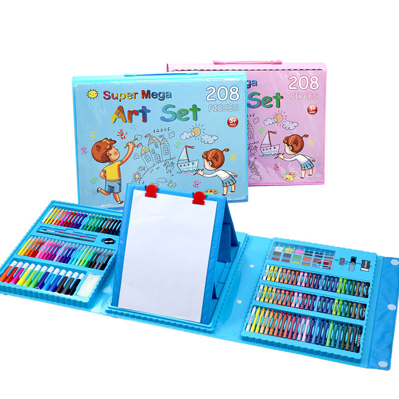 208 шт детский подарок акварельный рисунок художественный маркер кисть Набор для рисования детский художественный Набор для рисования подарок для детей канцелярские принадлежности для офиса - Цвет: 208color