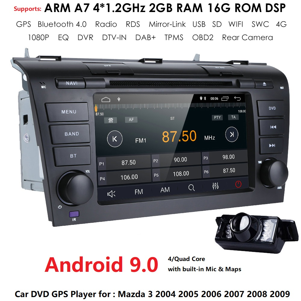 2GRAM 4G WIFI1024*600 Quad Core Android 9.0 Fit <font><b>MAZDA</b></font> <font><b>3</b></font> MAZDA3 2004 2005 2006 2007 2008 <font><b>2009</b></font> Car DVD Player Navigation GPS <font><b>Radio</b></font> image