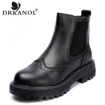 DRKANOL Handmade Women Boots 2020 Vintage Genuine Leather Flat Ankle Ladies Autumn Winter Bullock Casual Platform