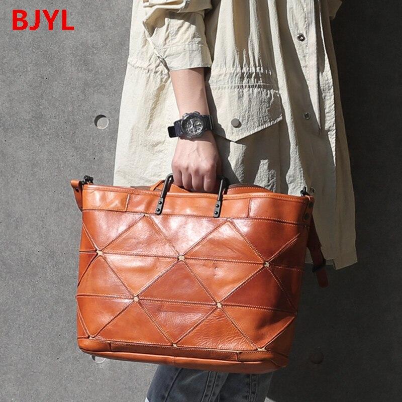 2020 New Computer Briefcase Women Handbag Large Capacity 14 Inch Laptop Bag Female Leather Cowhide Stitching Distressed Handbag