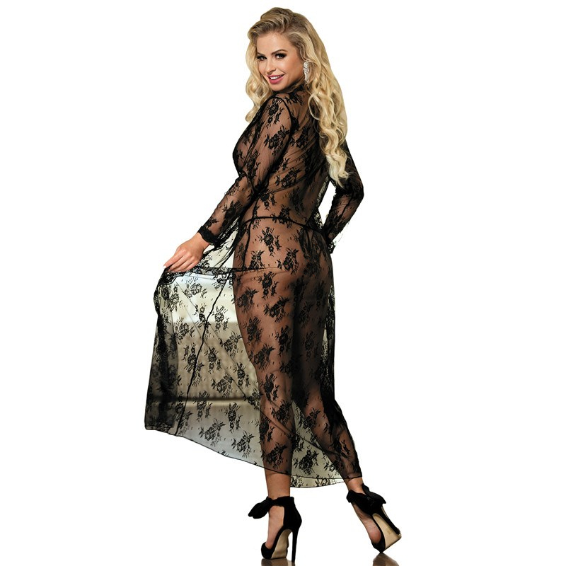 Image 3 - Comeondear 5XL Plus Size Lace Night Dress For Sex Long Sleeve Robe Femme Dentelle Woman See Through Black Night Gown RB80232-in Robes from Underwear & Sleepwears