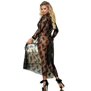 Image 3 - Comeondear 5XL Plus rozmiar koronki sukienka wieczorowa na seks szlafrok z długim rękawem Femme Dentelle kobieta przez czarny koszula nocna RB80232