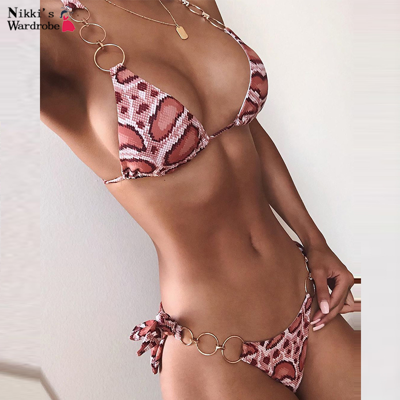 Halter Ring Leopard Print Swimsuit Sexy Bikini Tie Up Thong Swim Suit Bandage Swimwear Women Bathing Suit Swimwear Bikini