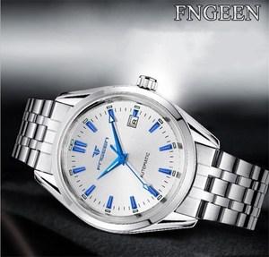 Image 4 - Мужские наручные часы FNGEEN, синие механические часы с заклепками и календарем, водонепроницаемые, со стальным ремешком
