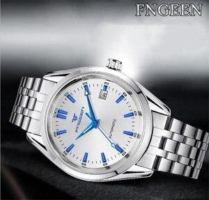 Image 4 - Fngeen ブルーリベット機械式時計カレンダー防水鋼ストラップ中空ダイヤルレロジオ masculino