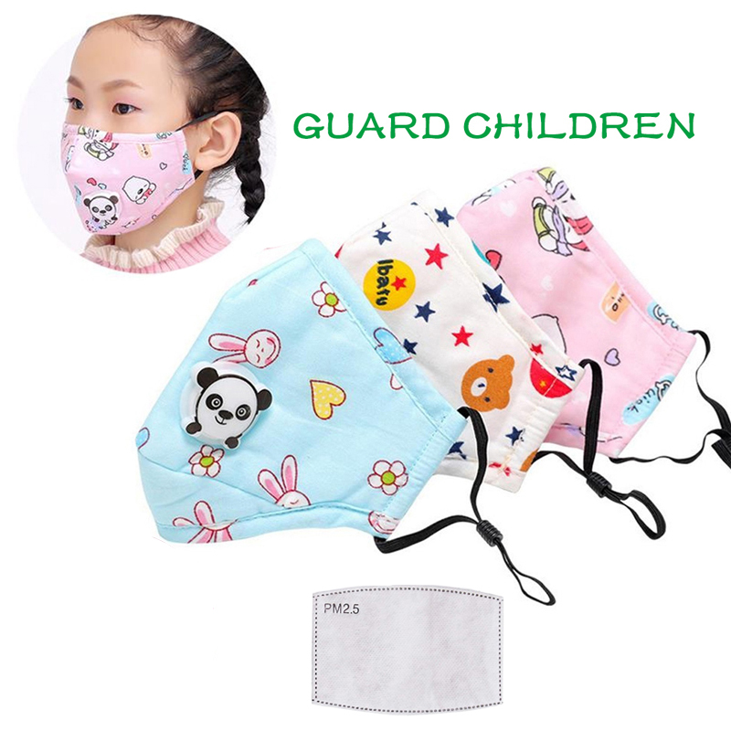 PM2.5 Children Mask Respiratory Valve Thicken Smog Mask Dust Activated Carbon Safe Mask Fits 2-10 Years Old Kids Reusable
