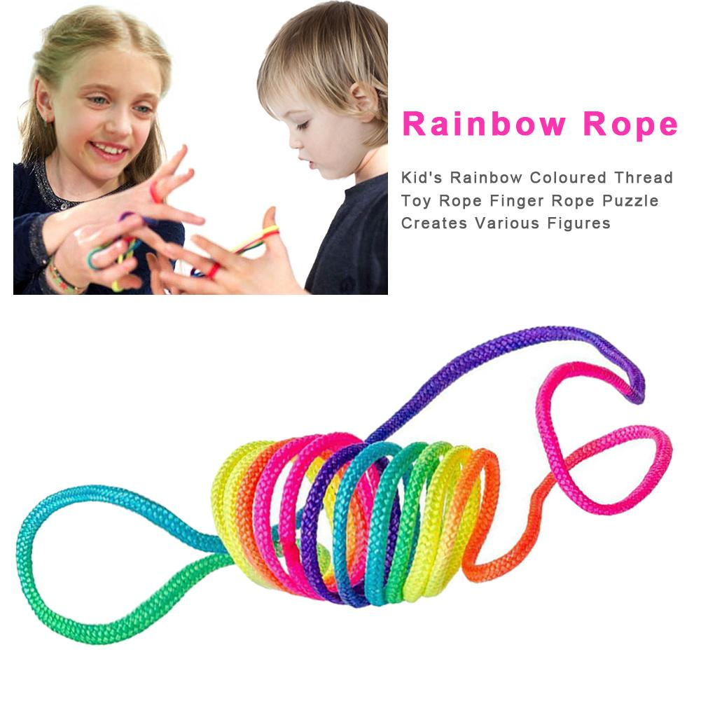Kids Rainbow Rope Coloured String Toy Rope Finger Rope Puzzle Creates Various Figures Puzzle Game For Child Playing Game