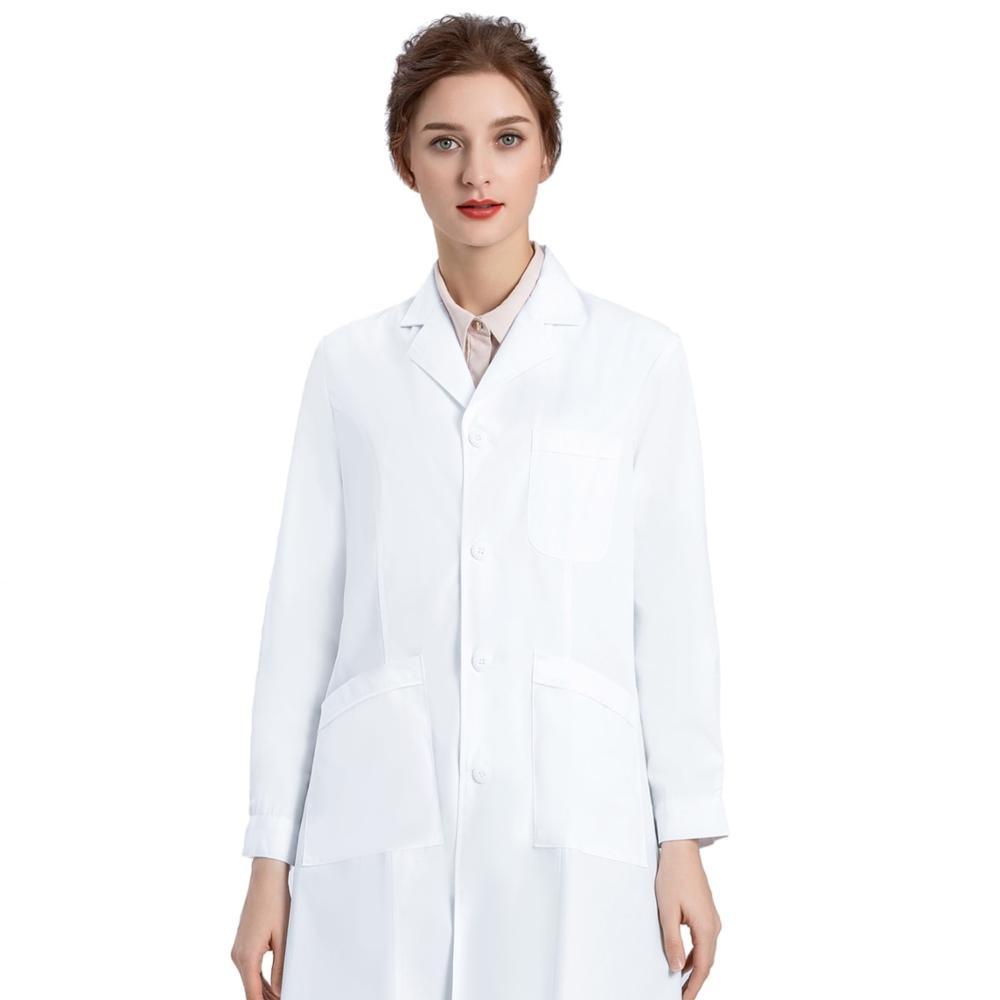 Image 5 - Белое лабораторное пальто для женщин, медсестры и пальто доктора, Профессиональная Медицинская спецодежда униформа, Slim Fit, белое пальто с 3 карманами-in Лабораторные халаты from Новый и особенный в использовании on AliExpress