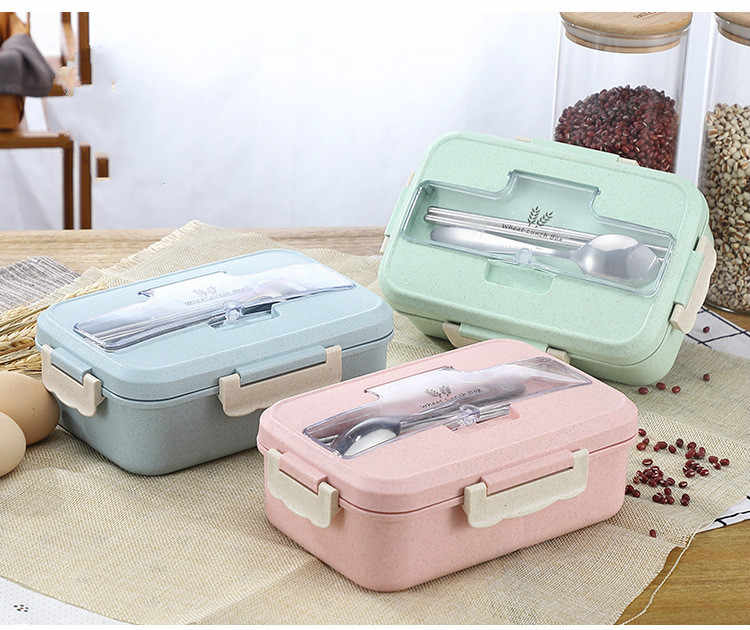 Microwave Lunch Box Wheat Straw Dinnerware Food Storage Container Children Kids School Office Portable Bento Box