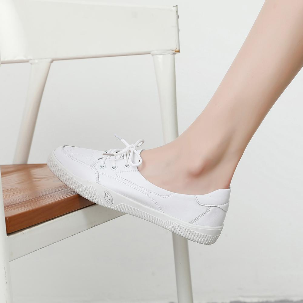 Image 2 - Women Casual Shoes Comfortable White Nude Sneakers Fashion Lace Up Split Leather Girls Casual Flats ShoesWomens Vulcanize Shoes   -