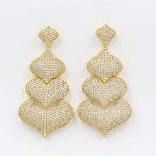 Золотые Подвесные серьги из Дубая 18 карат розового золота с