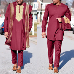 H&D African Agbada Suit For Men Embroidered Robes Dashiki Cover Shirt Pants 3 PCS Set Boubou Africain Homme Musulman Ensembles