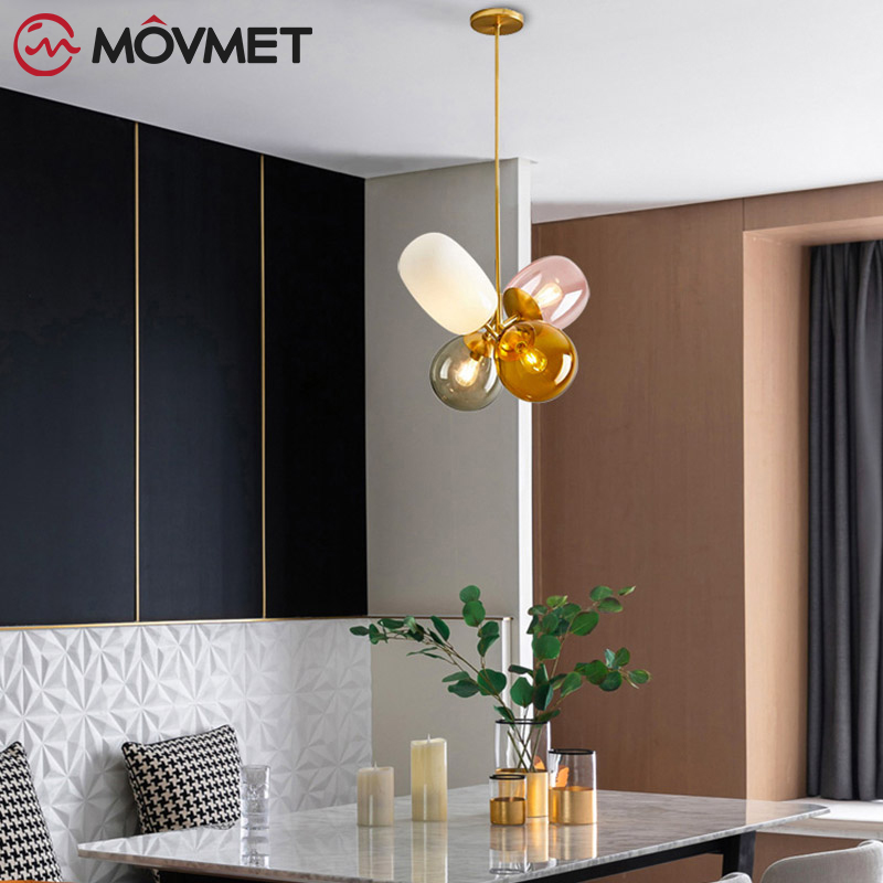Loft Modern Pendant Light Glass Ball Hanging Lamp Kitchen Light Fixture Dining Hanglamp Living Room Luminaire - 4