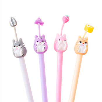 4 pcs/lot Cartoon cute Hamster silicone gel pen kawaii Promotional Gift Stationery pen Escolar Papelaria School Office Supply 5 pcs lot color gel pen kawaii super hero superman stationery canetas escolar papelaria gift office material school supplies
