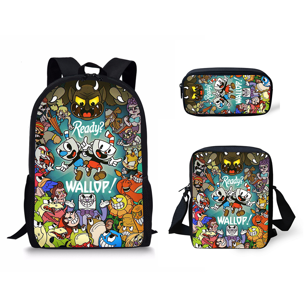 HaoYun Kid's Cuphead Game Mugman Pattern Mochila Students Backpack Shoulder Bag Travel School Bag For Teenagers Casual Mochila