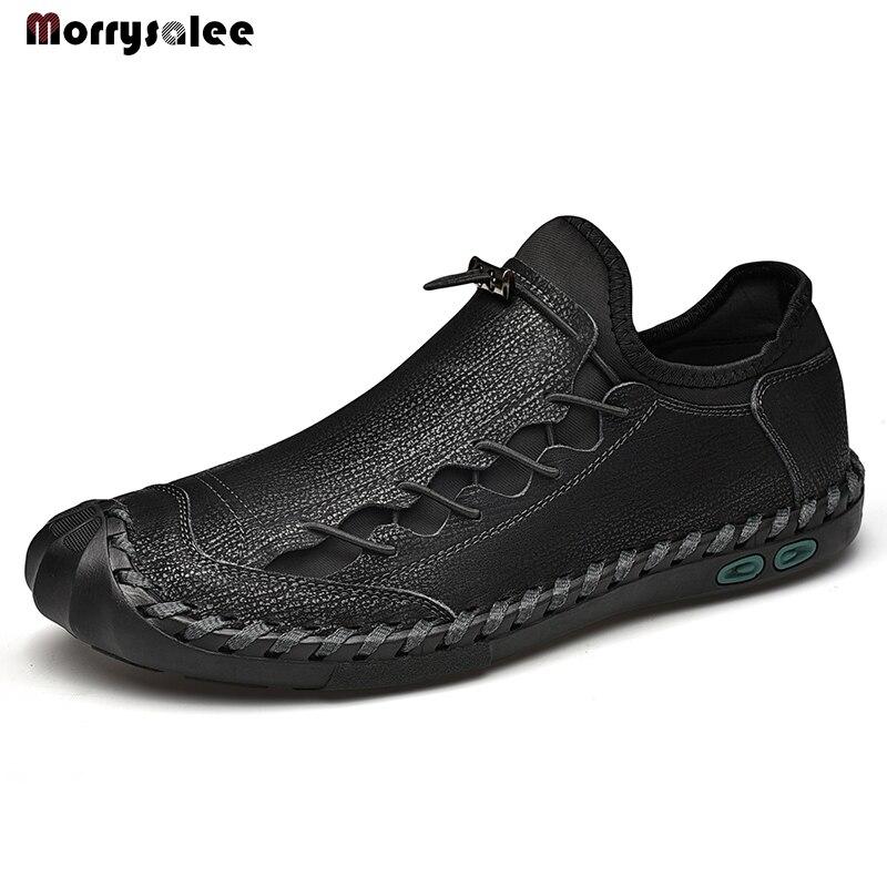 New Comfortable Men Casual Shoes Loafers Men Shoes Quality Split Leather Shoes Man Flats Moccasins Shoe Plus Size Designer