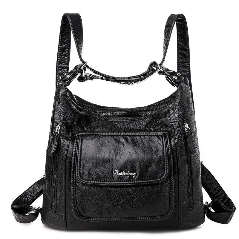 Women's bag large capacity soft PU leather handbag 2020 new trend ladies shoulder messenger bag gray 3