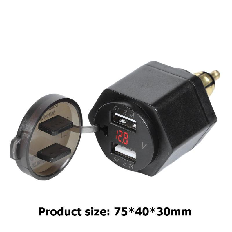 Motorcycle 4.2A Dual <font><b>USB</b></font> Charger with Voltmeter for <font><b>BMW</b></font> Hella/<font><b>DIN</b></font> Powerlet Plug Power Outlet Adapter image