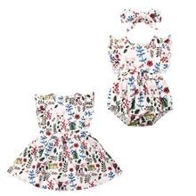 Рождественская Одинаковая одежда для маленьких девочек; комбинезон с оборками; платье; комплект