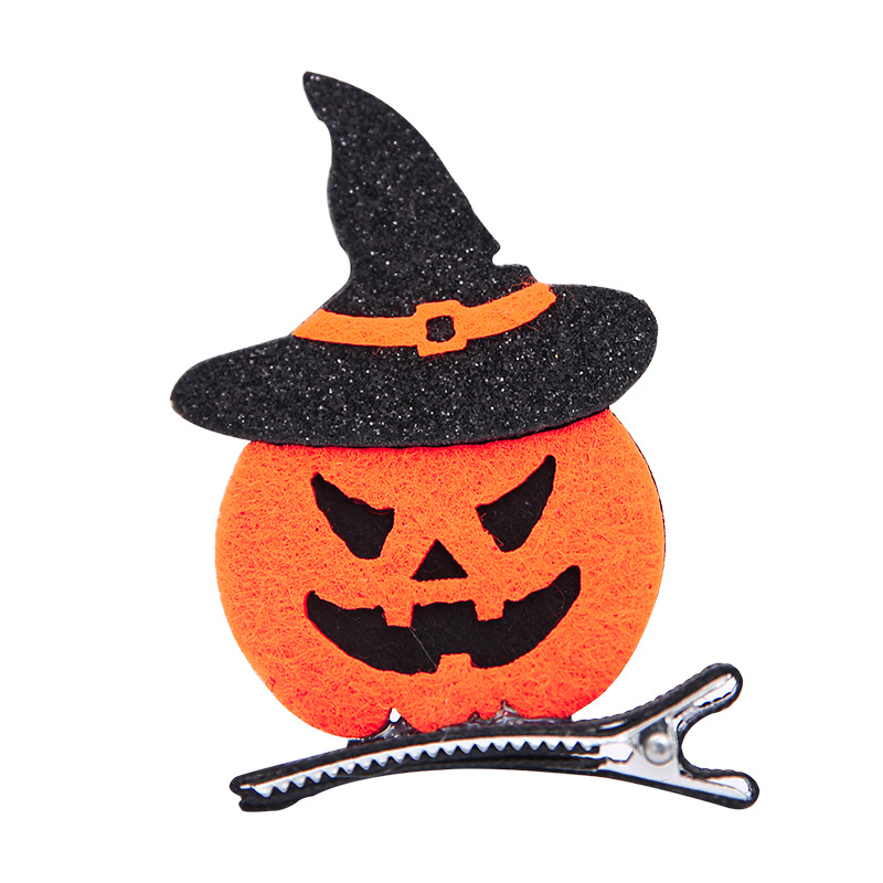 1Pcs 5CM Creative Printed Halloween Theme Smile Pumpkin Hair Clips Toys Cartoon Festival Handmade Hairpin Hair Hats Accessories