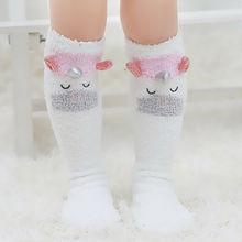Милые детские носки с единорогом Нескользящие хлопковые теплые зимние носки с бантом из кораллового флиса с рисунком чулки до колен, колготки