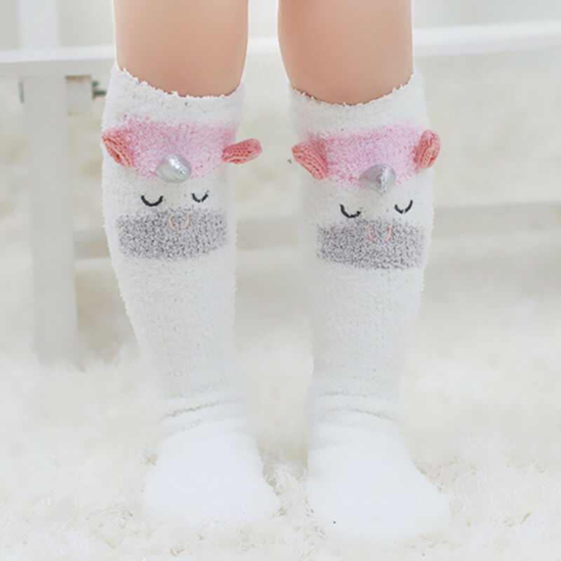 Cute Children Unicorn Baby Socks Antislip Cotton Coral Fleece Cartoon Winter Warm Bow Socks Knee High Hosiery Tights Leg