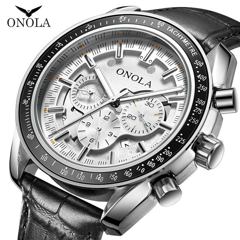 ONOLA business casual automatic watch for man 2019 luxury barnd fashion luminous waterproof leather Mechanical Wrist Watch male