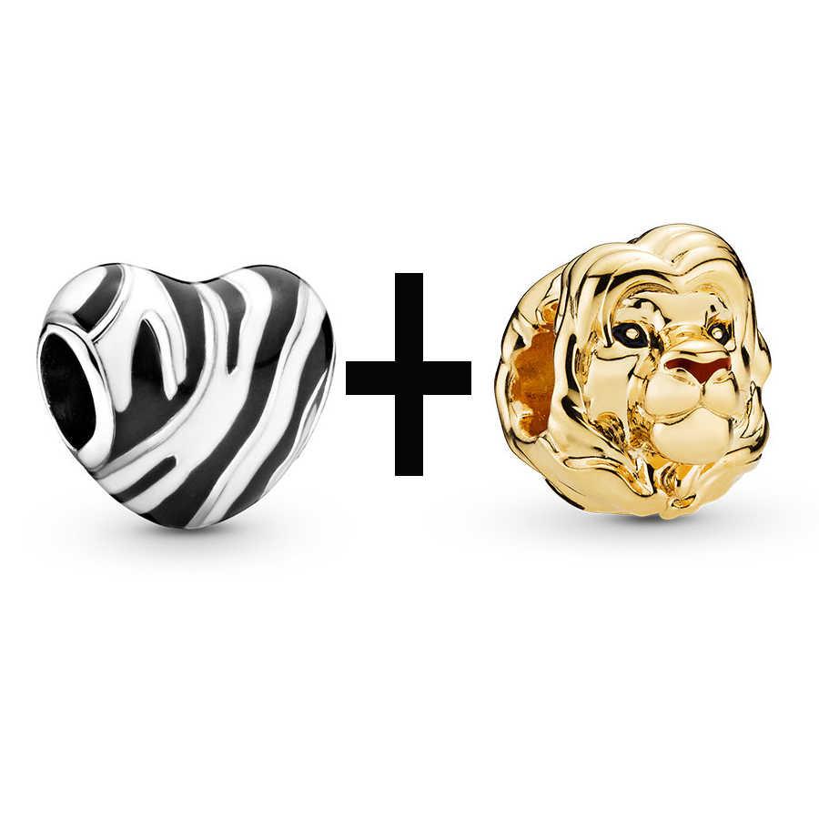 Buipoey 2pcs Mufasa Simba boncuklu Charm bilezik bileklik kadın erkek Fit Pandora yılan zincir deri halat çocuk takı aslan kral