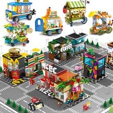 Мининатура с видом на город, совместимая с Legoed продуктовый магазин, розничный магазин, кафе, ресторан, архитектура, дом, строительные блоки, игрушки