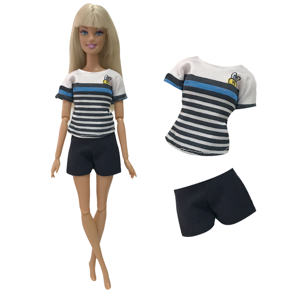 NK 2019 Doll Dress Beautiful Handmade Party Clothes Top Fashion Jeans For Barbie Noble Doll Accessories Child Girls'Gift 120A 9X