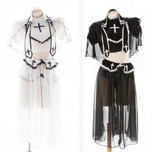 black white lace high neckline with veil outfit Erotic lingerie dress 5 piece nurse lingerie set sexy nun costume cosplay uniform